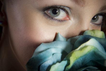 Studio blue flower prtrait